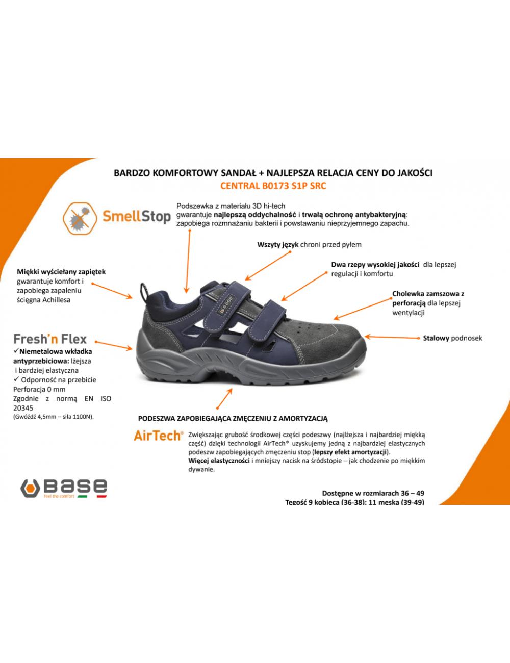 Sandały robocze BASE CENTRAL S1P